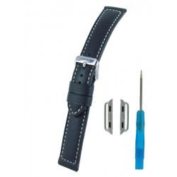 Bracelet pour Apple Watch Noir Bombé Cuir Vachette Piqûre écrue