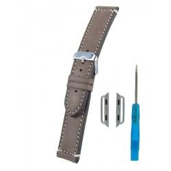 Bracelet pour Apple Watch Marron Clair Veau Piqûre écrue