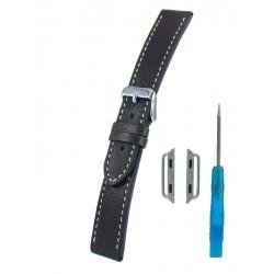 Bracelet Cuir Vintage pour Apple Watch Marron Foncé Piqûre écrue