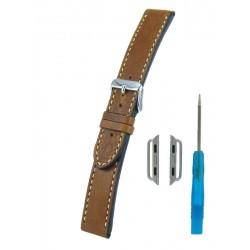 Bracelet Cuir Vintage pour Apple Watch Marron Clair Piqûre écrue