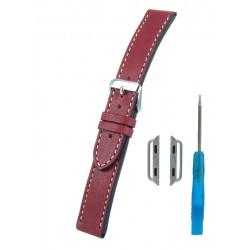 Bracelet Cuir Vintage pour Apple Watch Bordeaux Piqûre écrue