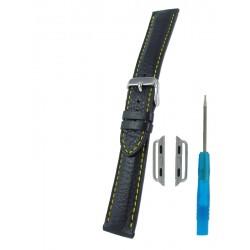 Bracelet pour Apple Watch Noir avec Piqûre Jaune Cerf Véritable