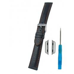 Bracelet pour Apple Watch Noir avec Piqûre Orange Cerf Véritable