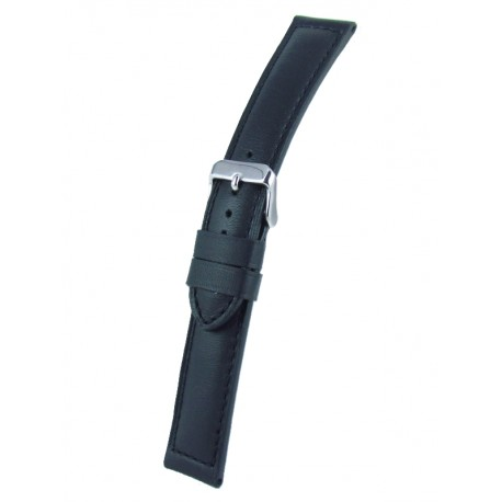 Black padded watch band cowhide leather