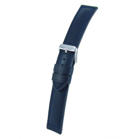 Navy blue padded watch band cowhide leather