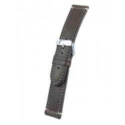 Bracelet montre marron cuir veau fil ecru