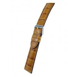 Bracelet Montre Imitation Alligator Marron Clair Bombé Cuir de Veau