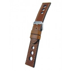 Dark Brown Racing Watch Strap White Stitching