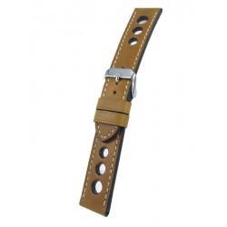 Bracelet montre style racing gold cuir vachette piqûre écrue