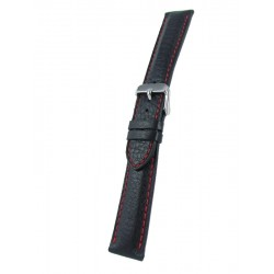 Black deerskin band with red stitching