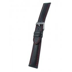 Bracelet Montre Noir avec piqûre rouge Cerf Véritable