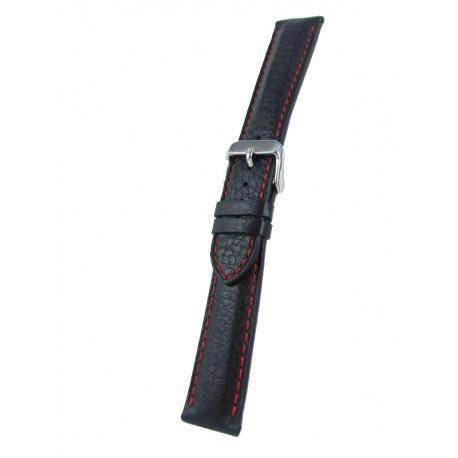 Bracelet montre cuir noir piqûre rouge cerf véritable