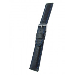 Black deerskin band with blue stitching