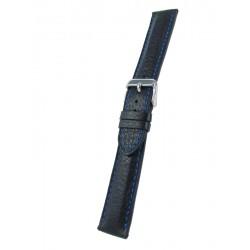 Bracelet Montre Noir avec piqûre bleue Cerf Véritable
