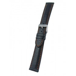 Black Deerskin Watch Strap with Orange Stitching