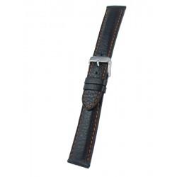 Bracelet montre cuir noir piqûre orange cerf véritable