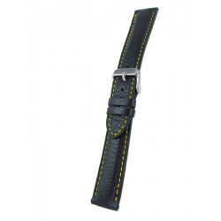 Black deerskin band with yellow stitching