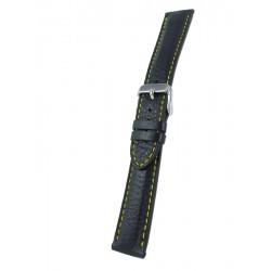 Bracelet montre cuir noir piqûre jaune cerf véritable