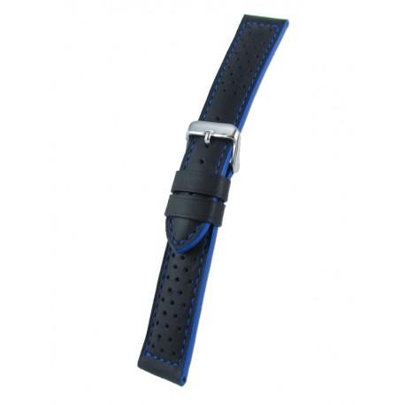 Bracelet montre sport noir cuir vachette piqûre et tranches bleues
