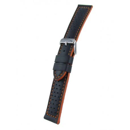 Bracelet montre sport cuir vachette piqûre et tranches oranges