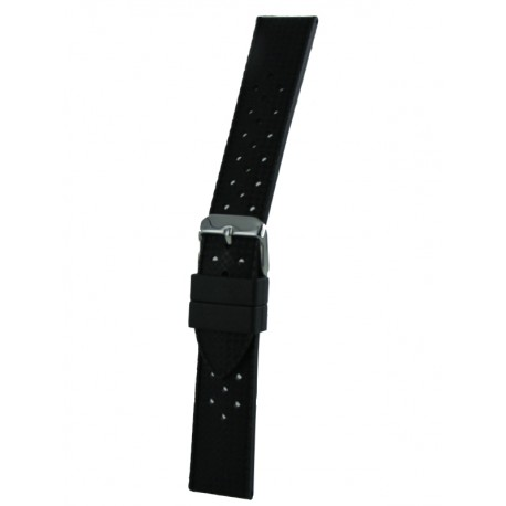 Black Vintage Silicone Watch Band - Perforated