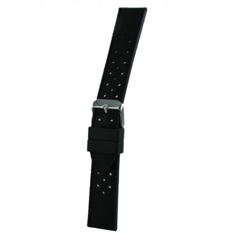 Bracelet montre noir silicone vintage perforé