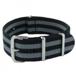 Bracelet Nato James Bond Noir/Gris