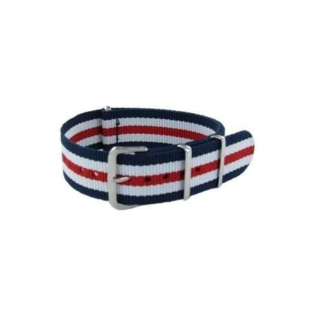 Bracelet Nato James Bond Bleu/Blanc/Rouge