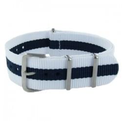 Bracelet Nato Blanc/Bleu