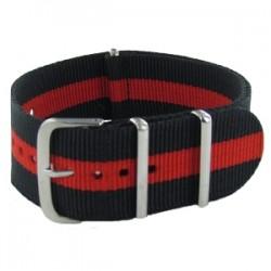 Bracelet Nato Noir/Rouge