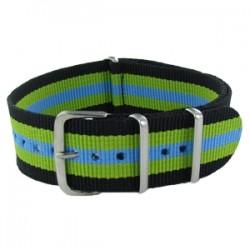 Bracelet Nato Noir/Vert/Bleu