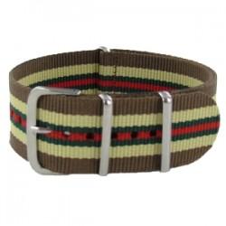 Bracelet Nato Marron/Beige Liseré Vert/Rouge