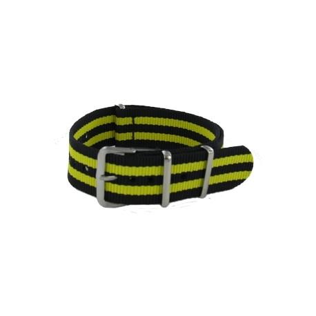 Bracelet Nato James Bond Noir/Jaune