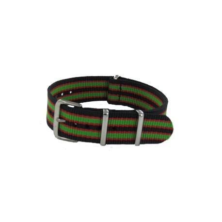 Bracelet Nato James Bond Noir/Rouge/Vert