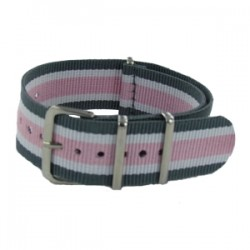Bracelet Nato Gris/Blanc/Rose