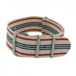 Bracelet Nato Beige Rayures Rouges/Noires/Blanches
