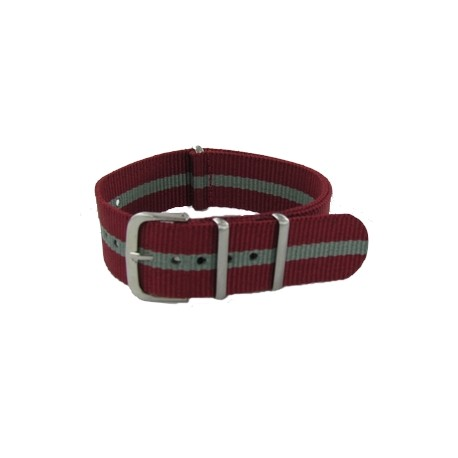 Bracelet Nato Bordeaux/Gris