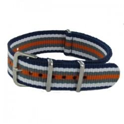 Bracelet Nato Bleu/Blanc/Gris/Orange