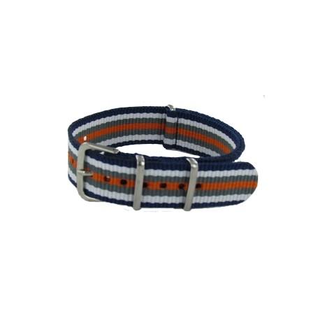 Blue/White/Grey/Orange Nato Strap