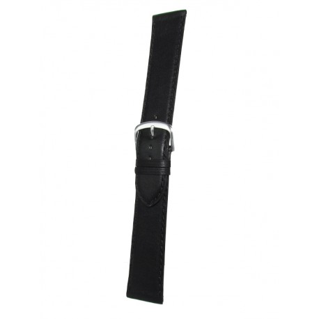 Extra Long Black Leather Watch Strap - Flat