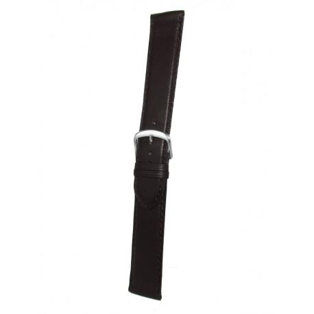 Bracelet Montre Extra Long Marron Foncé Cuir Vachette Plat