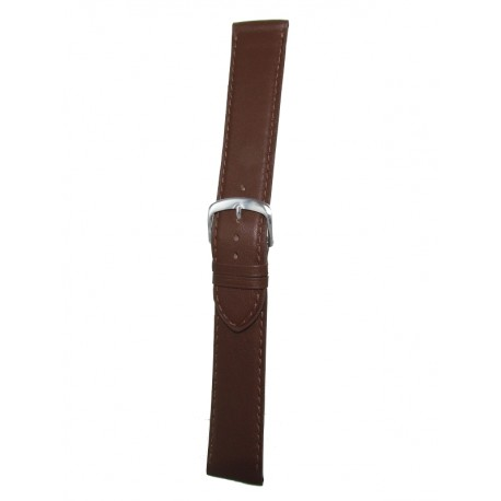 Extra Long Brown Leather Watch Strap - Flat