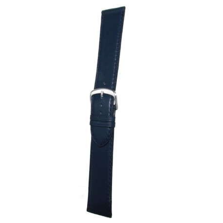 Extra Long Navy Blue Leather Watch Strap - Flat