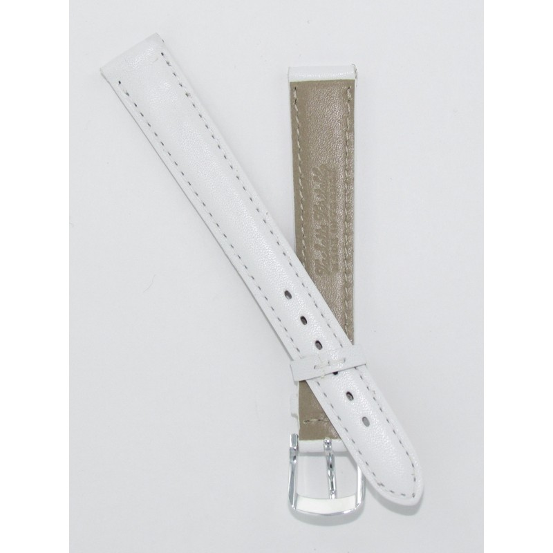 Bracelet montre en cuir de veau blanc modèle classique disponible de 12 à 20mm