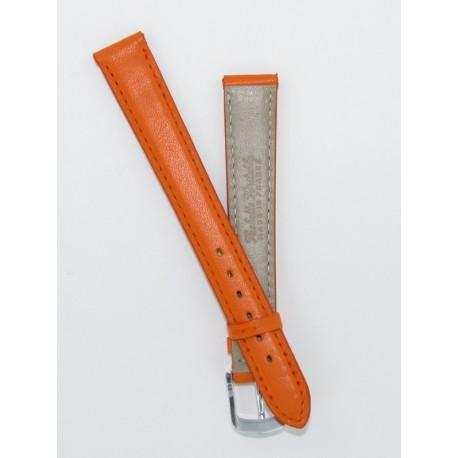 e2a73f233fbab Bracelet Montre Femme Orange Cuir Vachette Plat