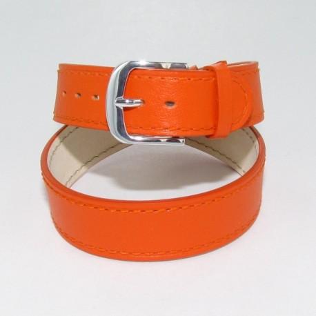07325370eac Bracelet montre double tour femme cuir orange
