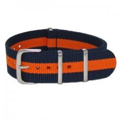 Bracelet Nato Bleu Marine/Orange