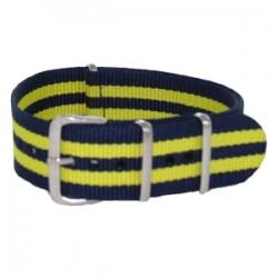 Bracelet Nato James Bond Bleu Marine/Jaune