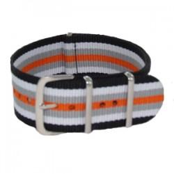 Bracelet Nato Noir/Blanc/Gris/Orange