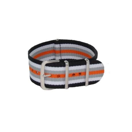 Black/White/Gray/Orange Nato Strap